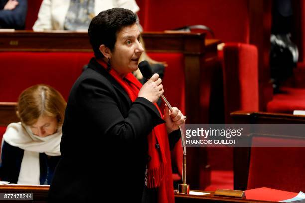 French Minister of Higher Education Research and Innovation Frederique Vidal addresses a session of questions to the government at the National...
