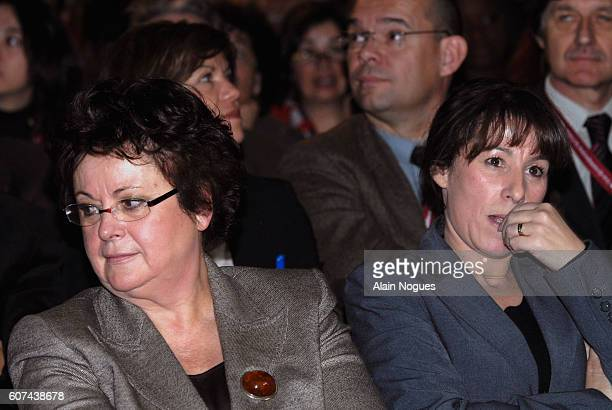 French Minister of Housing and the City Christine Boutin and Junior Minister for Housing and Urban Affairs Fadela Amara attend the meeting 'Journee...