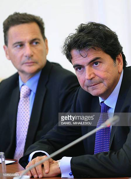 French Minister of Immigration Eric Besson and French State Secretary for European Affaires Pierre Lellouche look on at the beginning of official...
