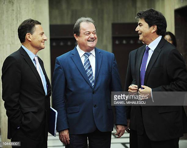 French Minister of Immigration Eric Besson Romanian Minister of Interior Vasile Blaga and French State Secretary for European Affaires Pierre...