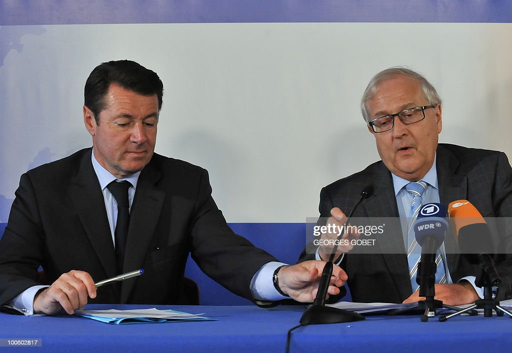 French minister of Industry Christian Estrosi (L) and German Economy and Technologies Minister Rainer Bruderle (R) give a press conference following a working session of the Competitiveness Council on May 25, 2010 at the EU headquarters in Brussels.