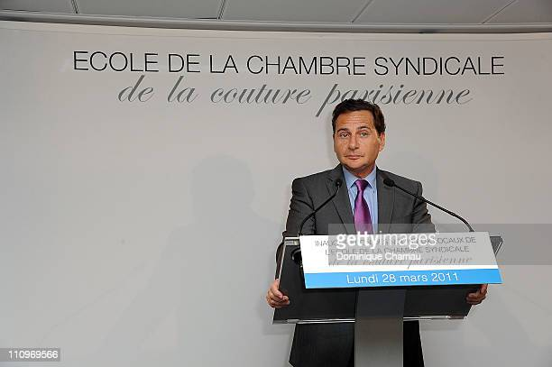 French Minister of Industry Eric Besson attends the 'Chambre Syndicale De La Couture Parisienne' School Launch Cocktail on March 28 2011 in Paris...