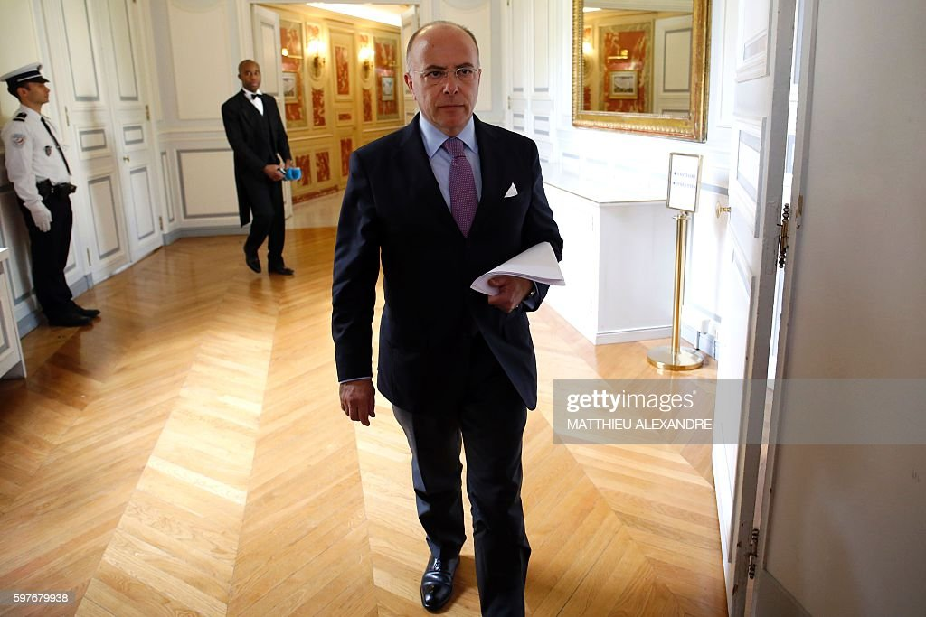 French Minister of Interior Bernard Cazeneuve arrives for a press conference following a meeting with representatives of the Islamic community in...