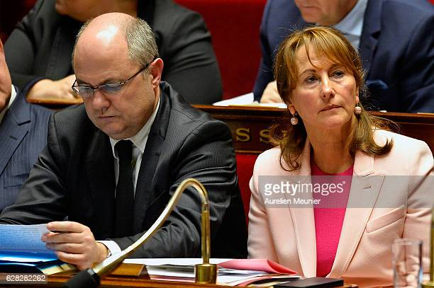 French Minister of Interior Bruno Le Roux and Segolene Royal French Minister of Ecology Sustainable Development and Energy react as Ministers answer...