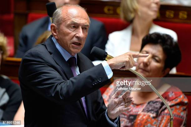 French Minister of Interior Gerard Collomb answers deputies during the weekly questions to the government at Assemblee Nationale on July 19 2017 in...