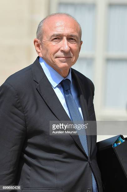 French Minister of Interior Gerard Collomb leaves the Elysee Palace after the weekly cabinet meeting with French President Emmanuel Macron on June 22...