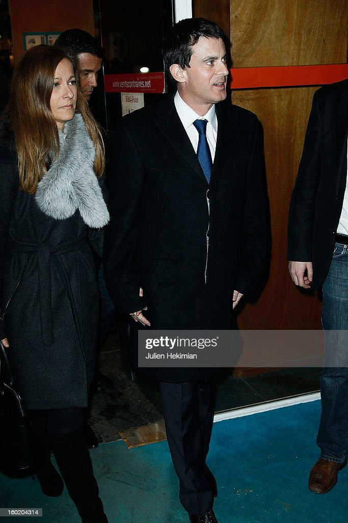 French Minister of Interior <a gi-track='captionPersonalityLinkClicked' href=/galleries/search?phrase=Manuel+Valls&family=editorial&specificpeople=2178864 ng-click='$event.stopPropagation()'>Manuel Valls</a> and his wife attend the 'Mariage Pour Tous' (wedding for all) Party event at Theatre du Rond-Point on January 27, 2013 in Paris, France.