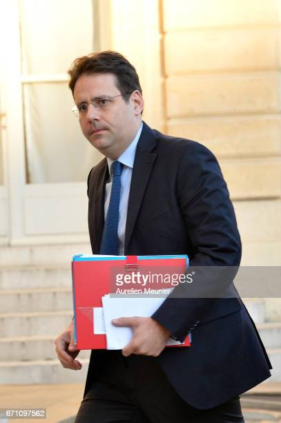 French Minister of Interior Matthias Fekl arrives at Elysee Palace for a defense council on April 21 2017 in Paris France One police officer has been...