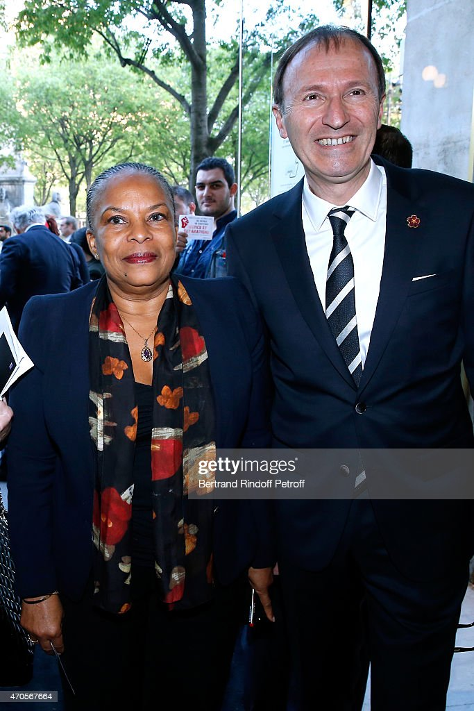 French Minister of Justice Christiane Taubira and PDT UGAB (Armenian General Benevolent Union) Philippe Panossian attend the Concert in Memory of 100th Anniversary of Armenian Genocide at Theatre du Chatelet on April 21, 2015 in Paris, France.