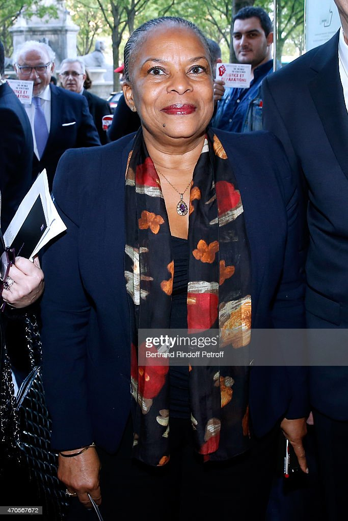 French Minister of Justice Christiane Taubira attends the Concert in Memory of 100th Anniversary of Armenian Genocide at Theatre du Chatelet on April 21, 2015 in Paris, France.