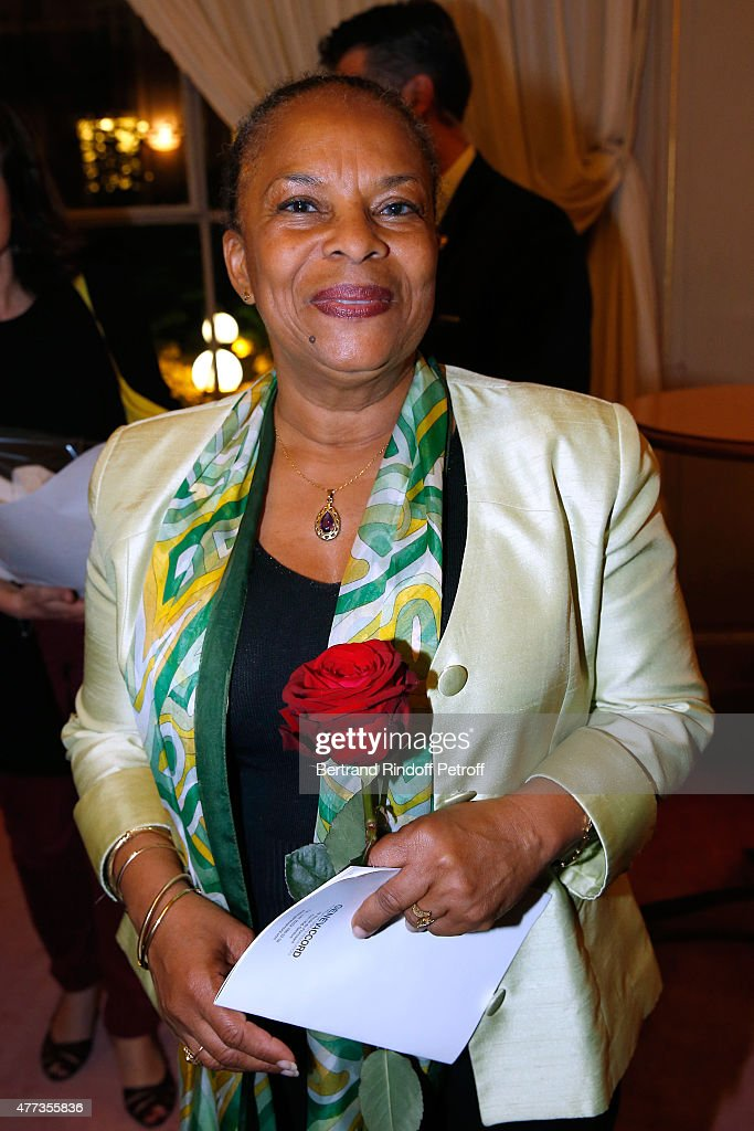 French Minister of Justice Christiane Taubira attends the 'Sweet Justice' : Theater Play at Comedie des Champs Elysee on June 16, 2015 in Paris, France.