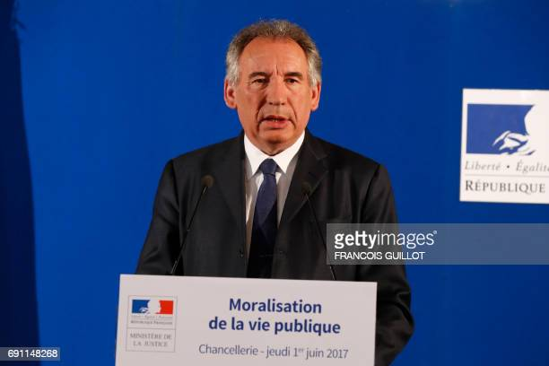 French Minister of Justice Francois Bayrou gives a press conference on a bill on the 'moralization of public life' on June 1 2017 at the ministry in...