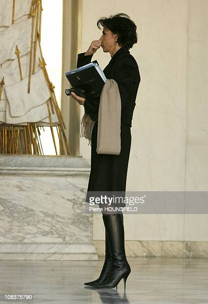 French Minister of Justice Rachida Dati leaves the weekly cabinet meeting in Paris France on November 28th2007