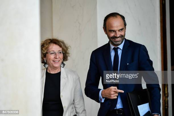 French Minister of Labour Muriel Penicaud and Prime Minister Edouard Philippe leave the Elysee presidential Palace after a cabinet meeting on...