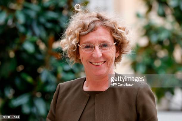 French Minister of Labour Muriel Penicaud arrives at the Hotel Matignon in Paris on October 18 for talks with unions on professional training...