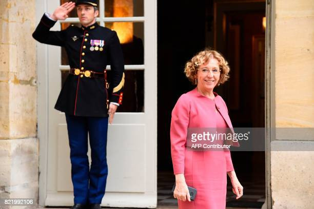 French Minister of Labour Muriel Penicaud arrives for a meeting with French Prime Minister and French employer federation Medef head at the Hotel de...