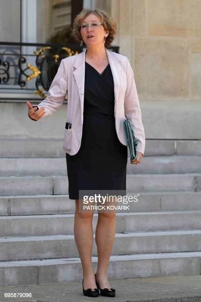 French Minister of Labour Muriel Penicaud gestures as she leaves a cabinet meeting on June 14 2017 at the Elysee Palace in Paris / AFP PHOTO /...