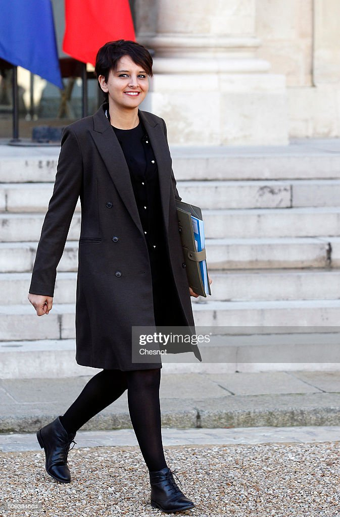 French Minister of National Education, Higher Education and Research <a gi-track='captionPersonalityLinkClicked' href=/galleries/search?phrase=Najat+Vallaud-Belkacem&family=editorial&specificpeople=4115928 ng-click='$event.stopPropagation()'>Najat Vallaud-Belkacem</a> leaves after the weekly cabinet meeting at the Elysee Palace on February 10, 2016 in Paris, France. This is the last cabinet meeting before the next ministerial reshuffle