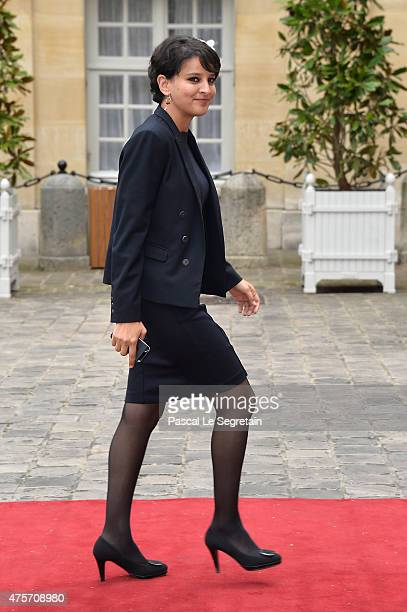 French Minister of National Education Najat VallaudBelkacem is seen in the courtyard of the Hotel Matignon on June 3 2015 in Paris France King Felipe...