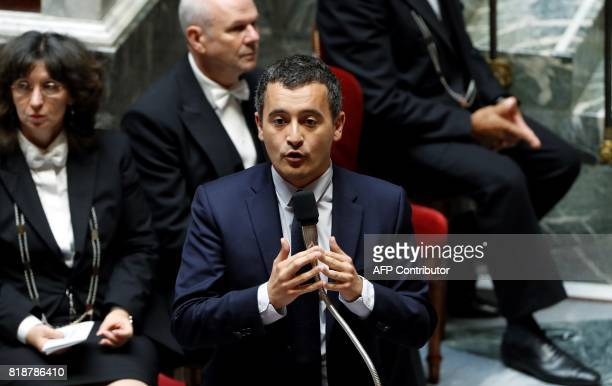 French Minister of Public Action and Accounts Gerald Darmanin speaks during a session of questions to the government at the French National Assembly...