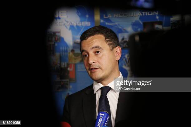 French Minister of Public Action and Accounts Gerald Darmanin addresses the media after scales of sea turtles were seized by the French Customs at...