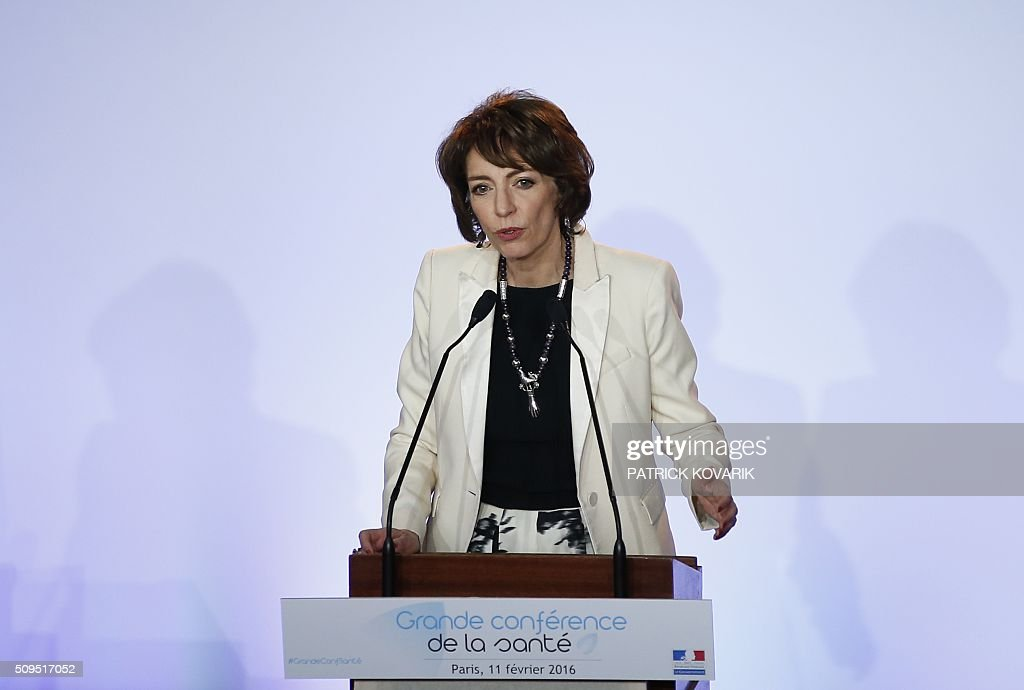 French Minister of Social Affairs and Health Marisol Touraine delivers a speech during a health conference organized by the government in Paris on February 11, 2016. Touraine said that she 'hears the concerns' of health professionals and wishes to ameliorate their working and training conditions at the opening of the 'Grande conference de sante', which was boycotted by independent doctors' unions. / AFP / PATRICK KOVARIK