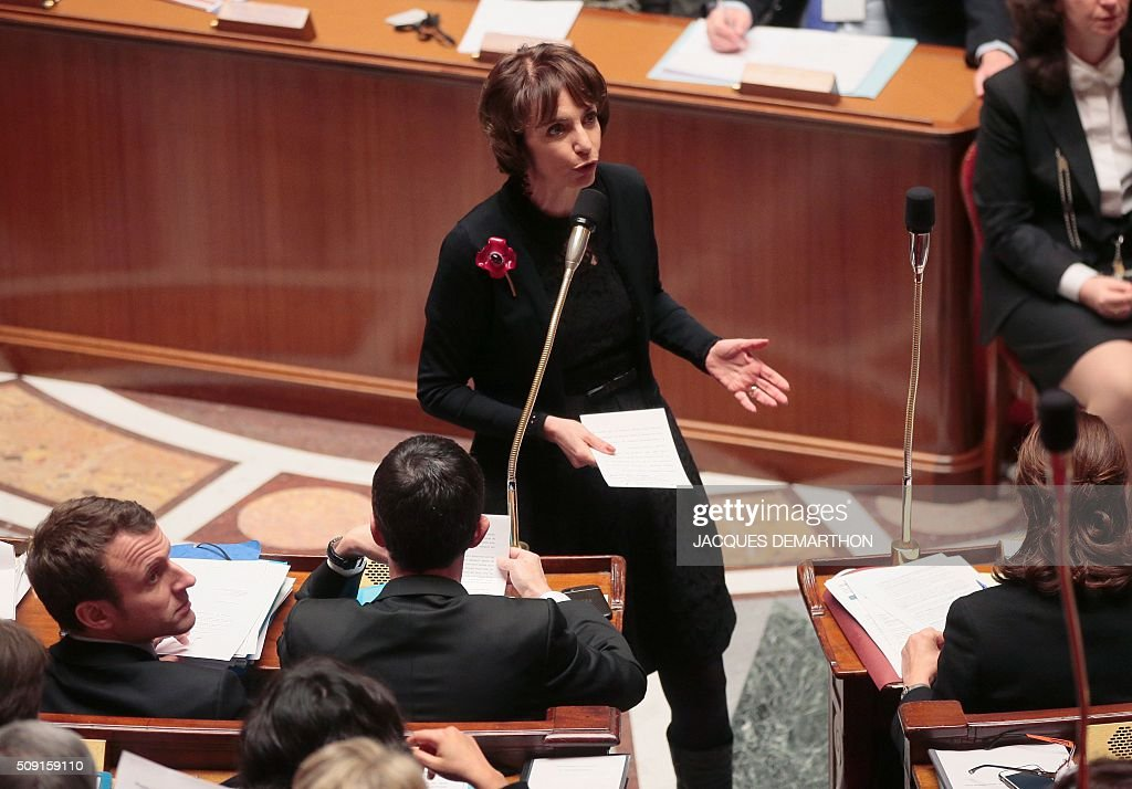 French Minister of Social Affairs and Health Marisol Touraine gestures as she speaks during a session of questions to the government at the French National Assembly in Paris on February 9, 2016. / AFP / JACQUES DEMARTHON