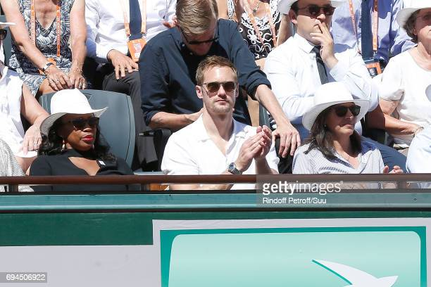 French Minister of Sports Laura Flessel Actor Alexander Skarsgard and Mayor of Paris Anne Hidalgo attend the Women Final of the 2017 French Tennis...