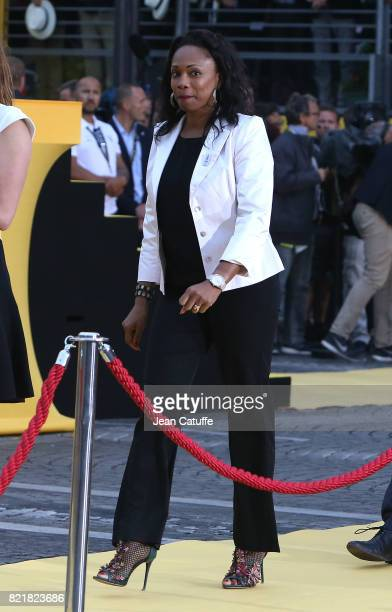 French Minister of Sports Laura Flessel during the trophy ceremony following stage 21 of the Tour de France 2017 a 103km race between Montgeron and...