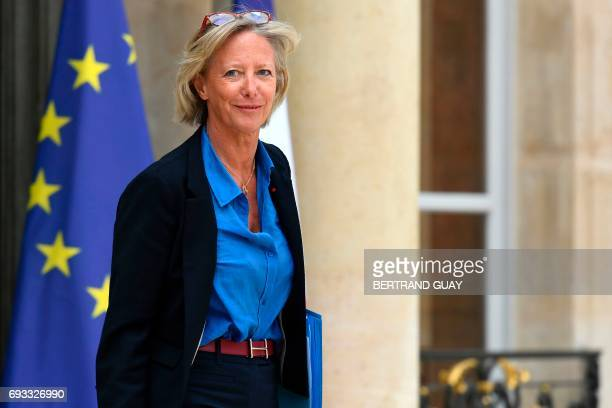 French Minister of State for Disabled People Sophie Cluzel leaves a cabinet meeting on June 7 2017 at the Elysee Palace in Paris / AFP PHOTO /...