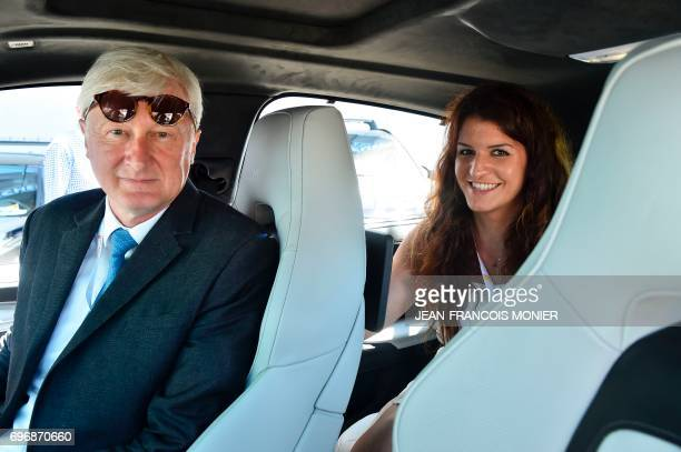 French Minister of State for Gender Equality Marlene Schiappa and Sarthe Departemental council President Dominique Le Mèner arrive by car on June 17...