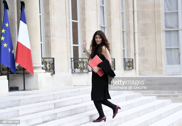 French Minister of State for Gender Equality Marlene Schiappa arrives to attend the weekly cabinet meeting on May 24 2017 at the Elysee Palace in...