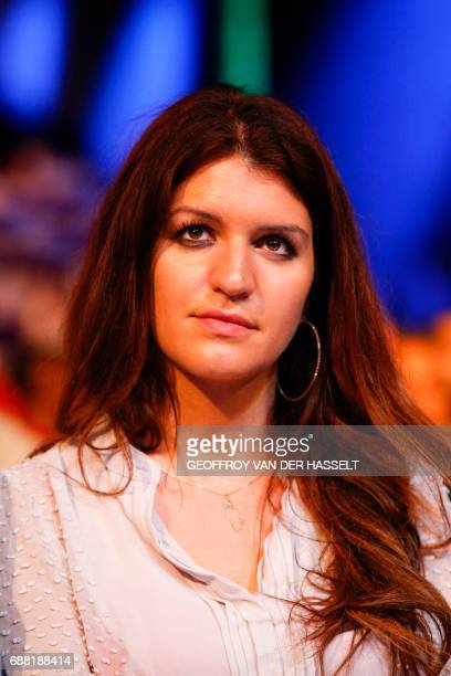 French Minister of State for Gender Equality Marlene Schiappa attends a campaign meeting for the 90 La Republique en Marche party candidates in the...