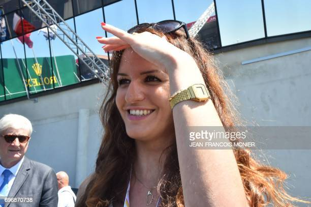French Minister of State for Gender Equality Marlene Schiappa attends the 85th 'Le Mans 24hours' endurance race in Le Mans northwestern France on...