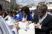 French Minister of State for Urban Policy Myriam El Khomri and President of the SeineSaintDenis Department Council Stephane Troussel take part in the...