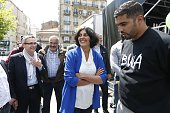 French Minister of State for Urban Policy Myriam El Khomri and President of the SeineSaintDenis Department Council Stephane Troussel attend the...