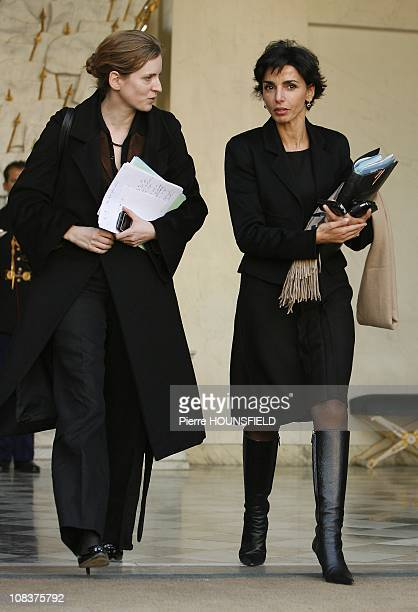 French Minister of State responsible for Ecology Nathalie KosciuskoMorizet and French Minister of Justice Rachida Dati leave the weekly cabinet...