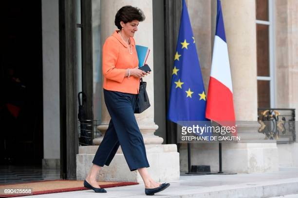 French Minister of the Armed Forces Sylvie Goulard leaves a cabinet meeting on May 31 2017 at the Elysee Palace in Paris / AFP PHOTO / STEPHANE DE...