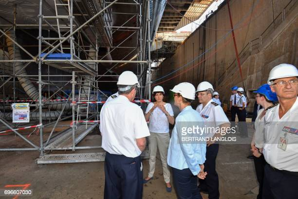 French Minister of the Armed Forces Sylvie Goulard visits the French Charles de Gaulle nuclearpowered aircraft carrier at a maintenance site in...