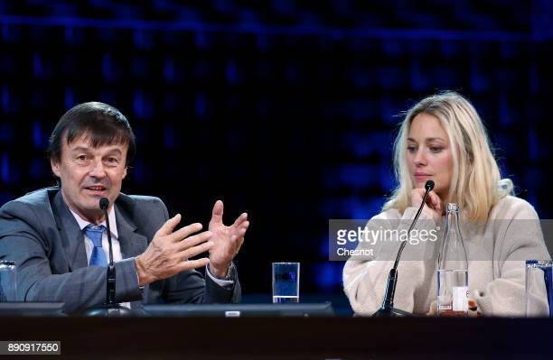 French Minister of the Ecological and Social Transition Nicolas Hulot delivers a speech next to French Actress Marion Cotillard during the One Planet...