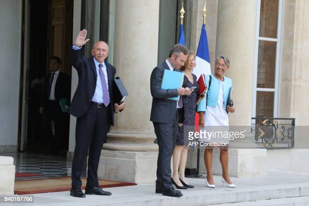 French Minister of the Interior Gerard Collomb flanked by Minister of State for the Foreign Affairs JeanBaptiste Lemoyne French Defence Minister...