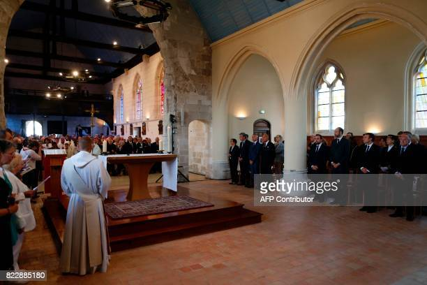 French Minister of the Interior Gerard Collomb French President Emmanuel Macron French Prime Minister Edouard Philippe and French Minister attached...
