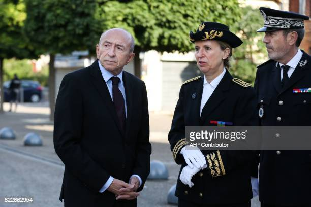 French Minister of the Interior Gerard Collomb stands next to the Prefet of Normandy Nicole Klein as they arrive to attend a mass marking the first...