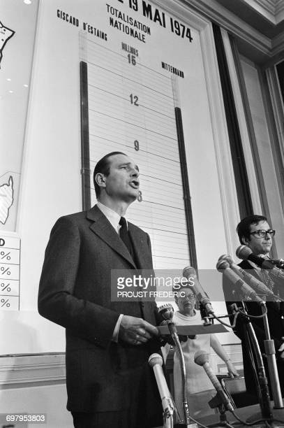 French Minister of the Interior Jacques Chirac announces the results after the second round of the French Presidential Election including the victory...