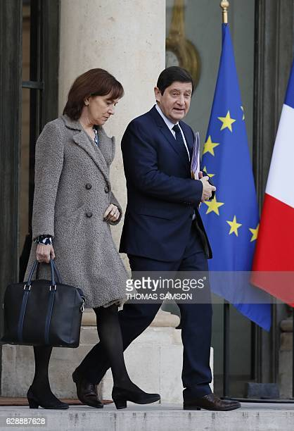 French Minister of the Urbanity Youth and Sports Patrick Kanner and French Minister for Family Children and Women's Rights Laurence Rossignol leave...