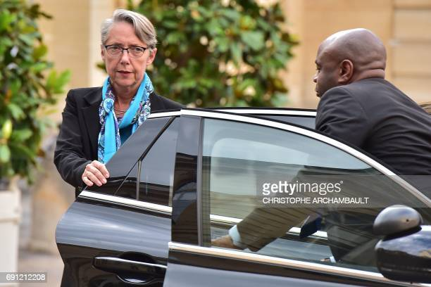French Minister of Transport Elisabeth Borne arrives at the Hotel de Matignon in Paris on June 1 for a launch meeting with three ombudsmen appointed...