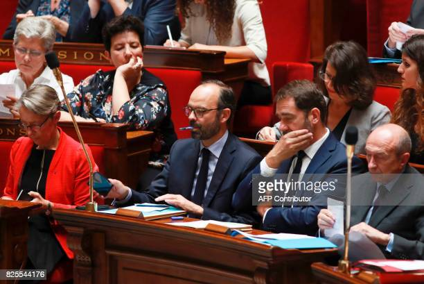 French Minister of Transport Elisabeth Borne Prime Minister Edouard Philippe Minister of State for Relations with Parliament and government...
