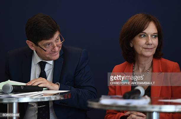 French Minister of Urban Affairs Youth and Sport Patrick Kanner and French Minister for Families Children and Womens Rights Laurence Rossignol attend...