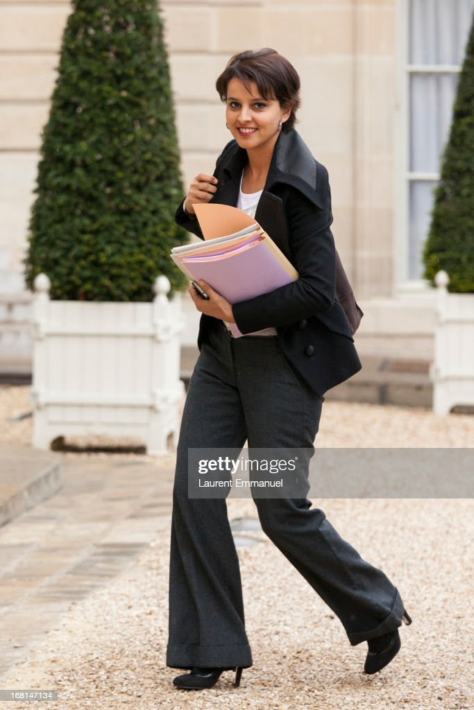 French Minister of Women's Rights Najat Vallaud-Belkacem arrives for a work meeting of government ministers presided by French President Francois Hollande at Elysee Palace on May 6, 2013 in Paris, France.