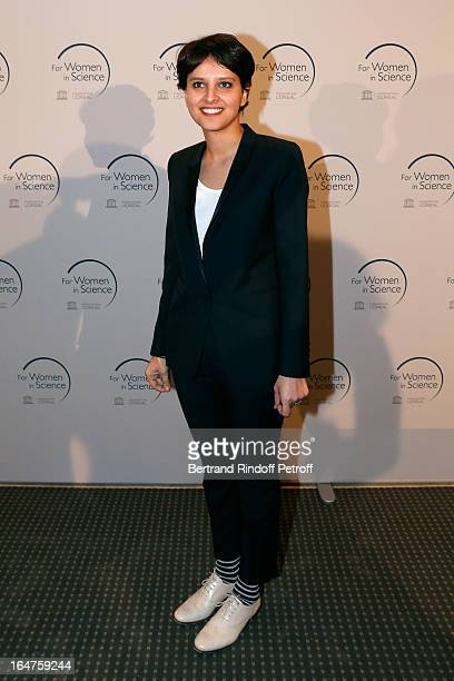 French Minister of Women's Rights Najat VallaudBelkacem attends Party At Pavillon Gabriel for the 15th anniversary of 'L'OrealUNESCO Awards For Women...